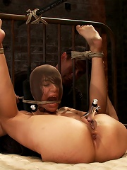 Beautiful Latino girl is orgasmed to sub space. Brutal nipple torture, clit torture & foot canning.
