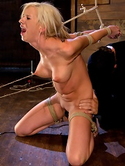 Hot blonde with amazing body, has nipples tied and weighted, gagged & made to cum like a common slut