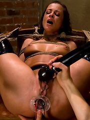 Naughty French maid Cecilia Vega is punished and strap-on fucked.