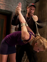 Stappadod, elbows together, legs spread, nipples clamped & weighted, flogged, made to cum & suffer!