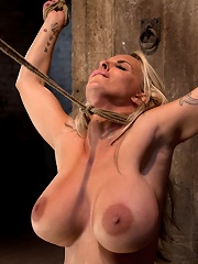 Smoking hot blond MILF with HUGE titsbrSuffers brutal crotch rope, pulled to the breaking point.